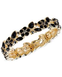 2028 | Metallic Gold-tone Black Stone Flower Stretch Bracelet, A Macy's Exclusive Style | Lyst