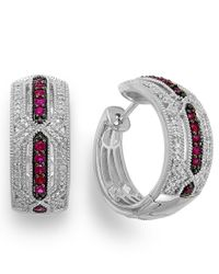 Macy's - Metallic Ruby (1/3 Ct. T.w.) And Diamond Accent Hoop Earrings In Sterling Silver - Lyst