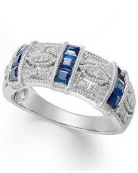 Macy's | Metallic Sapphire (3/4 Ct. T.w.) And Diamond Accent Band In Sterling Silver | Lyst