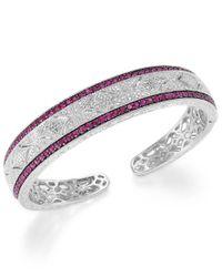 Macy's | Multicolor Ruby (1-3/4 Ct. T.w.) And Diamond (1/10 C.t. T.w.) Cuff Bracelet In Sterling Silver | Lyst
