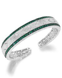 Macy's | Blue Emerald (1-1/3 Ct. T.w.) And Diamond (1/10 C.t. T.w.) Cuff Bracelet In Sterling Silver | Lyst