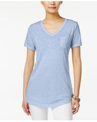 Style & Co. | Blue V-neck Burnout Pocket T-shirt, Only At Macy's | Lyst