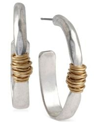 Robert Lee Morris | Metallic Two-tone Wire-wrapped Oval Hoop Earrings | Lyst