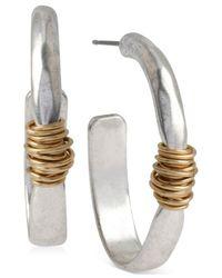 Robert Lee Morris | Metallic Two-tone Wire-wrapped Oval Hoop Earrings | Lyst