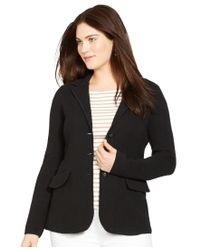 Lauren by Ralph Lauren | Black Plus Size Sweater Blazer | Lyst