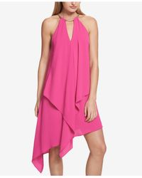 Kensie - Pink Draped Snake-chain Keyhole Dress - Lyst