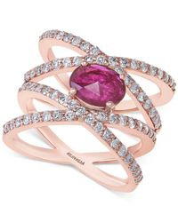 Effy Collection - Pink Ruby (7/8 Ct. T.w.) And Diamond (1 Ct. T.w.) Ring In 14k Rose Gold - Lyst