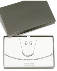 Macy's - Metallic Diamond Accent Infinity Hoop Earrings, Collar Necklace And Link Bracelet Set In Silver-plate - Lyst