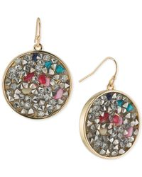 ABS By Allen Schwartz - Metallic Gold-tone Mixed Stone Drop Earrings - Lyst