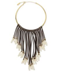 INC International Concepts - Gray Gold-tone Imitation Pearl And Faux Suede Fringe Statement Necklace - Lyst