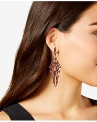 Guess - Red Multi-stone Swing Chandelier Earrings - Lyst