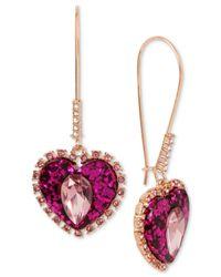 Betsey Johnson - Multicolor Pink Heart Drop Earrings - Lyst