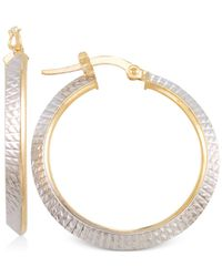 Macy's - Metallic Two-tone Textured Hoop Earrings In 14k Yellow And White Gold - Lyst