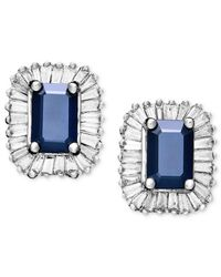 Effy Collection - Blue Sapphire (1-1/3 Ct. T.w.) And Diamond (5/8 Ct. T.w.) Rectangle Stud In 14k White Gold - Lyst