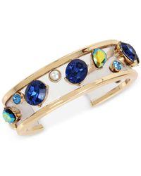 Betsey Johnson - Blue Gold-tone Multi-stone Imitation Pearl Cuff Bracelet - Lyst