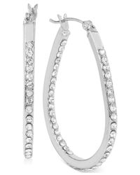 Touch Of Silver - Metallic Small Oval Crystal Hoop Earrings In Silver-plated Brass - Lyst
