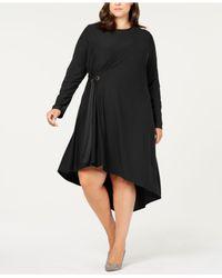 Love Scarlett - Black Plus Size Asymmetrical Side-tie Dress - Lyst