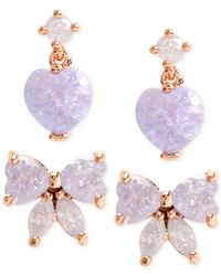 Betsey Johnson - Blue Gold-tone Purple Bow And Heart Stud Earring Set - Lyst