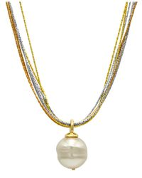 Majorica - Metallic Sterling Silver And 18k Gold Over Sterling Silver Pendant, Imitation Baroque Pearl - Lyst