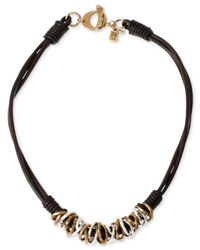 Robert Lee Morris - Metallic Two-tone Mixed Metal Ring Leather Frontal Necklace - Lyst