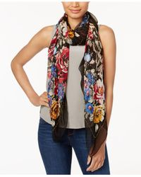INC International Concepts - Black Oversized Beaded Floral Scarf - Lyst