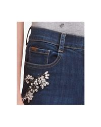 DKNY - Blue Embellished Skinny Jeans, Created For Macy's - Lyst