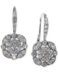 Macy's | Metallic Diamond (5/8 Ct. T.w.) Leverdrop Cluster Earrings In White Gold | Lyst