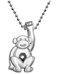 Alex Woo   Metallic Little Monkey Zodiac Pendant Necklace In Sterling Silver   Lyst