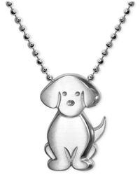 Alex Woo | Metallic Little Dog Zodiac Pendant Necklace In Sterling Silver | Lyst