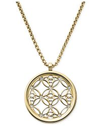 Michael Kors - Metallic Clear Open Logo Pendant Necklace - Lyst