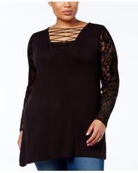 Love Scarlett - Black Plus Size Burnout Velvet-sleeve Tunic - Lyst
