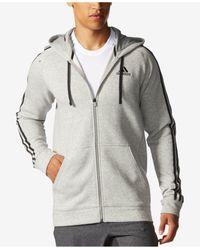 Adidas Originals | Gray Men's Essentials Cotton Fleece Full-zip Hoodie for Men | Lyst