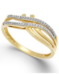 Macy's | Metallic Diamond (1/10 Ct. T.w.) Double Bypass Ring In 10k Gold | Lyst