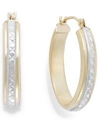 Macy's | Metallic Two-tone Diamond-cut Hoop Earrings In 10k Gold | Lyst