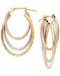 Macy's | Metallic Tri-tone Graduated Hoop Earrings In 10k Gold | Lyst