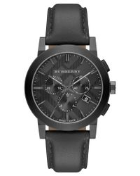 Burberry | Black Men's Swiss Chronograph Dark Gray Leather Strap Watch 42mm Bu9364 for Men | Lyst