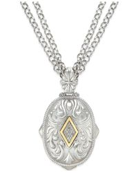 Macy's - Metallic Diamond Pendant Necklace In 14k Gold And Sterling Silver (1/6 Ct. T.w.) - Lyst