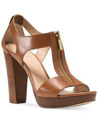 Michael Kors | Brown Michael Berkley T-strap Platform Dress Sandals | Lyst