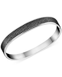 Calvin Klein - Metallic Stainless Steel Black Swarovski Crystal Bangle Bracelet - Lyst