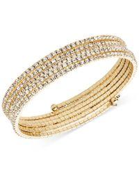 Anne Klein | Metallic Gold-tone Multi-row Rhinestone Flex Bracelet | Lyst