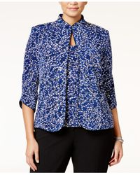 Alex Evenings | Blue Plus Size Printed Mandarin Jacket And Shell | Lyst