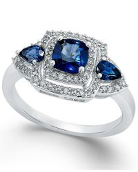 Macy's | Metallic Sapphire (9/10 Ct. T.w.) And Diamond (1/3 Ct. T.w.) Ring In 14k White Gold | Lyst