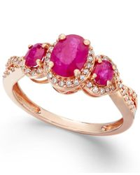 Macy's | Pink Ruby (1-1/3 Ct. T.w.) And Diamond (1/4 Ct. T.w.) Three-stone Ring In 14k Rose Gold | Lyst
