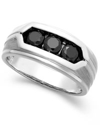 Macy's - Metallic Men's Black Diamond Ring In Sterling Silver (1 Ct. T.w.) for Men - Lyst
