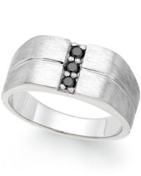 Macy's | Metallic Men's Black Diamond Ring In Sterling Silver (1/4 Ct. T.w.) | Lyst