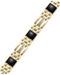Macy's - Yellow Men's Onyx (7-1/2 Ct. T.w.) And Diamond (1/4 Ct. T.w.) Bracelet In 10k Gold - Lyst