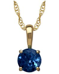 Macy's | Metallic Sapphire Round Pendant Necklace In 14k Gold (2/3 Ct. T.w.) | Lyst