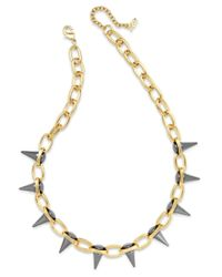 ABS By Allen Schwartz - Gray Two-tone Spike Collar Necklace - Lyst