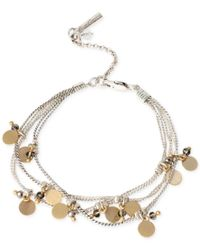Kenneth Cole | Metallic Two-tone Shaky Disc And Bead Multi-row Bracelet | Lyst