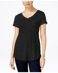 Style & Co. | Black V-neck Tee | Lyst
